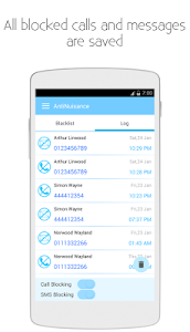 screenshot of AntiNuisance - Call Blocker and SMS Blocker version 1.62