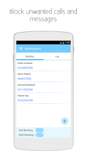 screenshot of Call Blocker and SMS Blocker (AntiNuisance) version 1.50