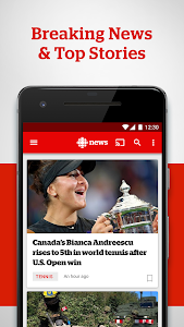 screenshot of CBC News: Breaking, Local & World News version Varies with device