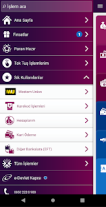 screenshot of QNB Finansbank Cep Şubesi version Varies with device