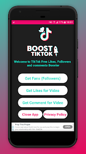 screenshot of BoostTik. tok Get Free Follower,Likes and Comment version 1.9