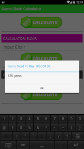 screenshot of Gems Clash Calculator version 1.0.0