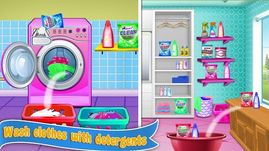screenshot of Home Laundry & Dish Washing: Messy Room Cleaning version 1.0.1
