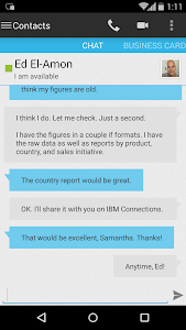 screenshot of Connections Chat version 10.1.1 20200306-1757
