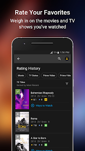 screenshot of IMDb Movies & TV version Varies with device