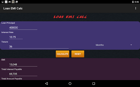 screenshot of Loan/Mortgage EMI Calculator version 1.2.1