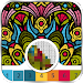 Mandala flowers color by number - pixel art