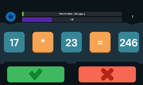 screenshot of Math Age (Check your mathematical agility) version 1.0