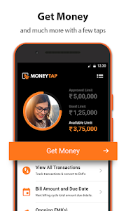 screenshot of MoneyTap, your credit line app version 2.3.5