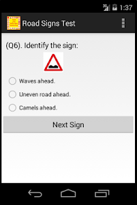 screenshot of Road And Traffic Signs Test version 1.7