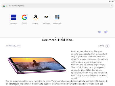 screenshot of Samsung Internet Browser version Varies with device