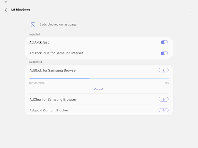screenshot of Samsung Internet Browser version 9.4.00.45