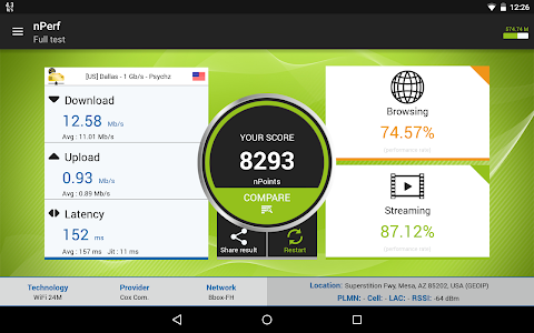 screenshot of Speed test 3G, 4G LTE, WiFi & network coverage map version 2.4.7