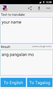 screenshot of Tagalog English Translator version 10.0