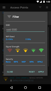 screenshot of WiFiAnalyzer (open-source) version Varies with device