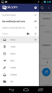 screenshot of mail.com mail version 5.4.2